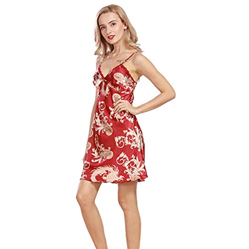 New Sexy Satin Nightgown Women's Print Deep V-Neck Silk Sleepwear Mini Dress Deep V Neck Loungewear Lingerie Women's Nightie XL Red