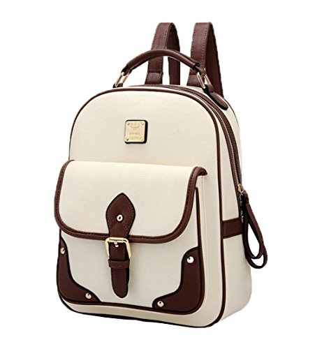 Top Shop Womens Vintage Leather Backpack Travel Daypack Handbags School Bags Shoulder Beige Satchels