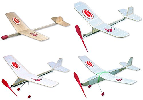 Guillow Build-N-Fly Balsa Wood Model Airplane Construction Set: 4 Kits Included - Goldwing, Cadet, Cloud Buster, and Fly-Boy