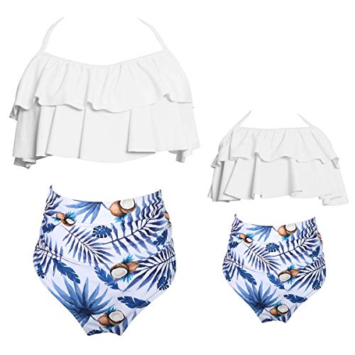 (KABETY Girls Swimsuit Two Pieces Bikini Set Ruffle Falbala Swimwear Bathing Suits (White, Mom M))