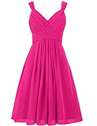 ELLAGOWNS Women's V Neck Chiffon Bridesmaid Dress Short Prom Gown