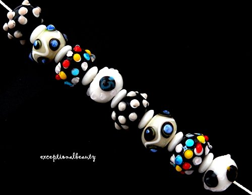 8 Assorted White Black Red Lampwork Bumpy Sputnick Rondelle Art Glass Beads