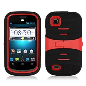 For ZTE Prelude/Avail 2 Z992 (AT&T/ Cricket)Armor 3 in 1 w/Stand Black+Red