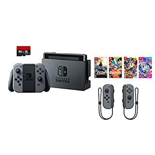 Nintendo Swtich 7 items Bundle:Nintendo Switch 32GB Console Gray Joy-con,64GB Micro SD Card and Nintendo Controllers Gray,4 Game Disc1-2-Switch Just Dance2017 The Legend of Zelda Super Bomberman R