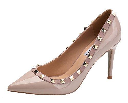 Classic Rivet - Women's Classic Rivets Pointy Toe Stilettos Slip On Pumps High Heel Party Wedding Dress Shoes Beige Patent PU Size US8.5 EU40