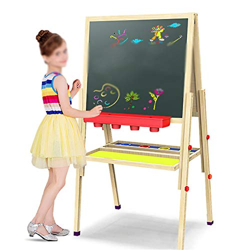 Kindlov-toys Kids Easel Standing Easel Children's Sketchpad Double-Sided Magnetic Multi-Functional Wooden Chalkboard Solid Wood Can Be Lifting Scaffolding Folding Tablet 148CM Standing Art Easel