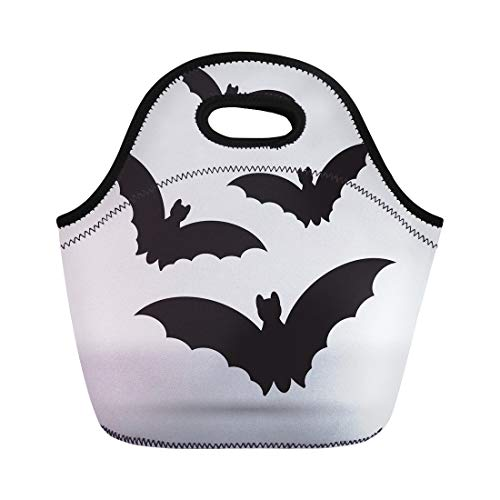 Tinmun Lunch Tote Bag Halloween Bats Animal Black Clip Collection Dracula Evil Fly Reusable Neoprene Bags Insulated Thermal Picnic Handbag for Women Men -