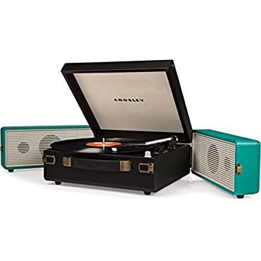 Crosley Snap USB Enabled Portable Turntable, Black/Turquoise