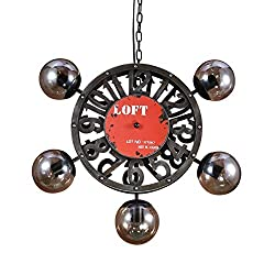 Jolly Loft Retro Pendant Lamp Vintage Creative Clocks Metal Glass Lampshade Chandelier Balcony Entrance Lamp Restaurant Bar Decorate