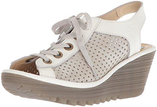 (FLY London Women's YEKI841FLY Wedge Sandal, Silver/Off White Borgogna/Rug, 38 M EU (7-7.5)