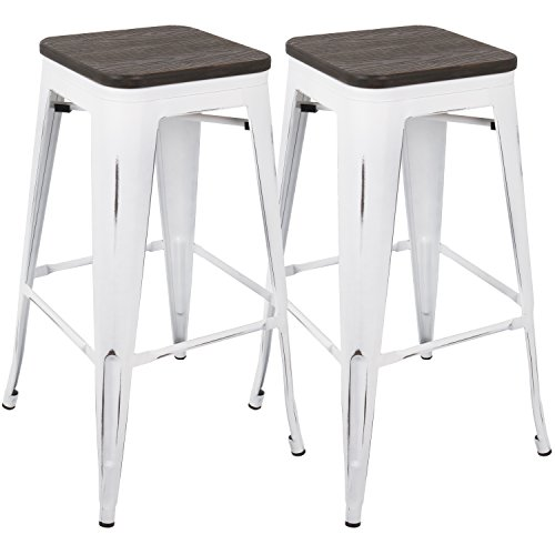 - WOYBR BS-OR VW+E2 Steel, Bamboo Oregon Barstool (Set of 2)