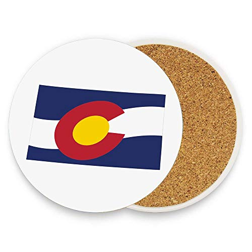 Waving State Flag Illustration Centennial State Absorbent Coaster For Drinks Ceramic Thirsty Stone With Cork Back Fit Big Cup, No Holder Parck 1