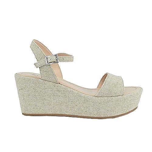 d09b67e50088 best Soda Women Summer Wedge Sandals Open Toe Platform Ankle Strap JOZY