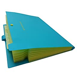 YooFun Accordion Expanding File Folder,12 Pockets,A4 Size And Letter Size,Buckle Closure and Subject Labels,(Blue/Yellow).