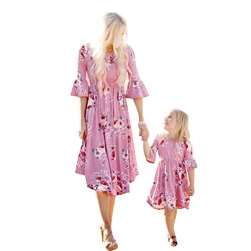 Kehen Family Matching Flower Beach Dress Mother Daughter Clothes Women Girl Summer Ruffle Horn Half Sleeve Maxi Dresses (Purplr (Mom), Small)]()