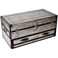 Bassett Mirror Company Aeroway Rectangular Silver Wood Shabby Chic Trunk Cocktail Table with Casters