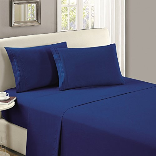 Mellanni Flat Sheet Queen Imperial-Blue Brushed Microfiber 1800 Bedding Top Sheet - Wrinkle, Fade, Stain Resistant - Hypoallergenic - (Queen, Imperial Blue)