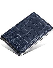محفظة بايليري جلد مع كراتة ألومنيوم بزر أتوماتيكي لخروج البطاقات بشكل تدريجي تحمل حتى 7 بطاقات - كحلي