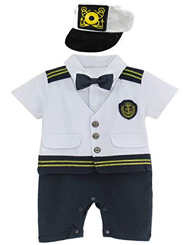 A&J DESIGN Toddler Baby Boys' Halloween Sailor Captain Costume Romper with Hat (12-18 Months, White) -