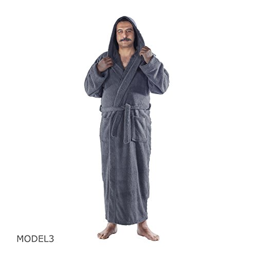 Arvec Men's Combed Turkish Cotton Terry Full Ankle Length Hooded Bathrobe (X-Large/XX-Large, Grey) by Arvec (Image #3)