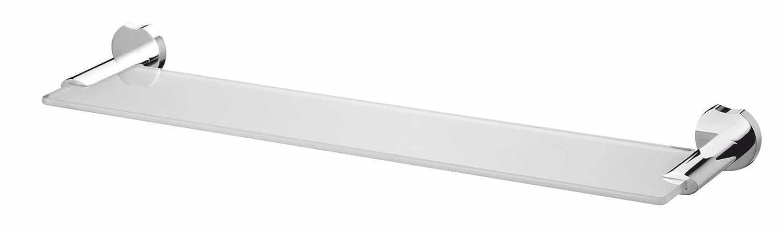 Bisk 55.5 x 4.5 x 13 cm Lune Glass Shelf, Chrome on Zinc 05032 5032_chrom
