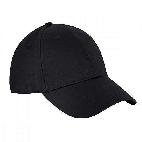 Officers Visor Hat (М-Tac Elite Plain Mens Baseball Cap Ripstop Cotton Visor Adjustable With Velcro Hat (Black, Medium))