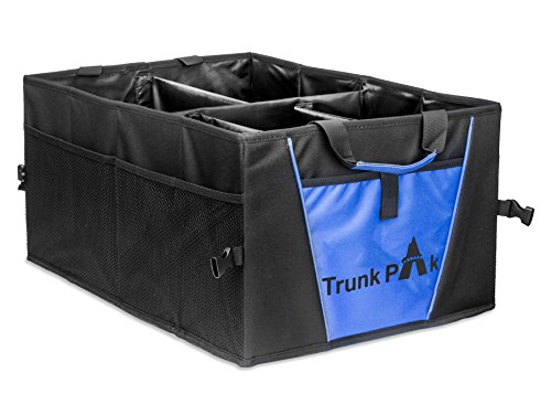 - TRUNKPAK Trunk Organizer - Collapsible Car Organizer All Types Vehicles - Vehicle Storage & Car Trunk Box Auto Home Use - Heavy Duty Fabric Steady Cardboard - 5 Compartments - Blue & Black