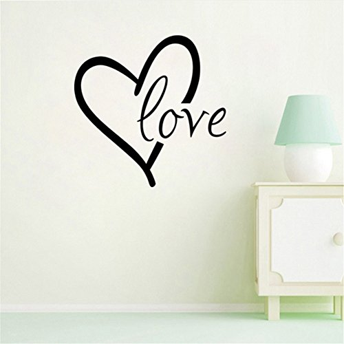 BIBITIME Big Heart Decal Stickers Love Wall Sign Sayings Quotes Valentines Day Couple Decor for Bedroom Kids Room Vinyl Art Mural, Size approx 16.93