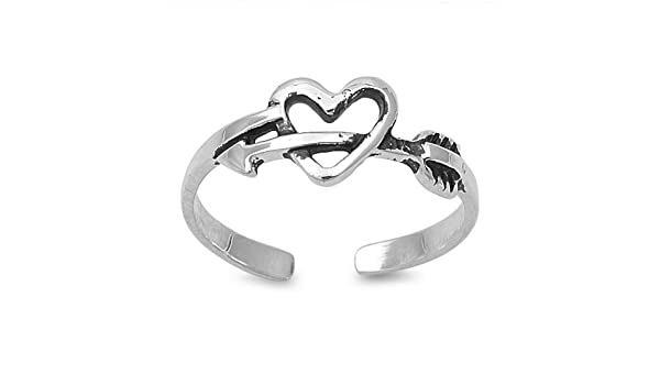 CloseoutWarehouse Sterling Silver Hollow Heart Knuckle//Toe Ring
