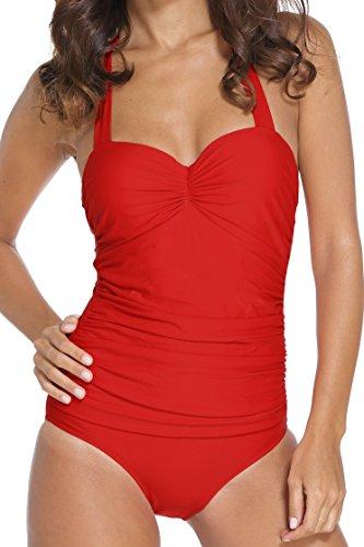 EasyMy Vintage 50s Pin Up Halter Traje de Ba?o de una Pieza Monokinis Rojo