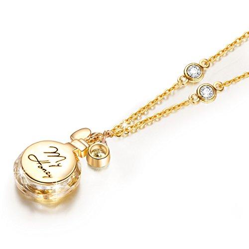 """Ladycolour """"Love Parfum"""" Collier Pendentif fait avec cristaux Swarovski, gravure Love My Honey"""
