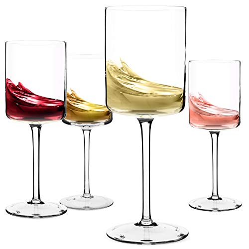 Wine Glasses, Large Red Wine or White Wine Glass Set of 4 - Unique Gift for Women, Men, Wedding, Anniversary, Christmas, Birthday - 14oz, 100% Lead Free Crystal