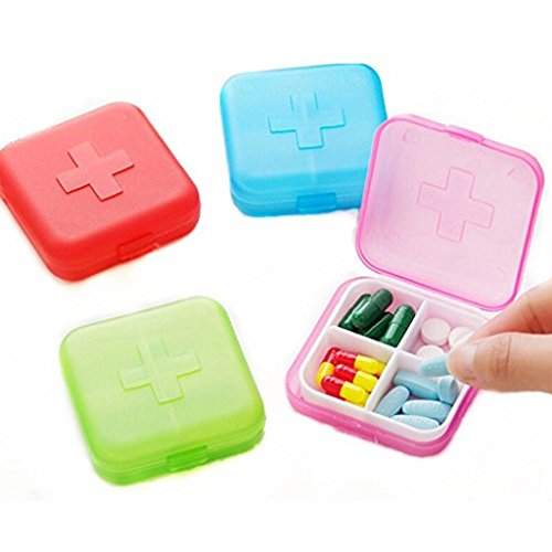 4PCS Portable 4 Slots Capsules Cross Pill Case Box ,Random ()