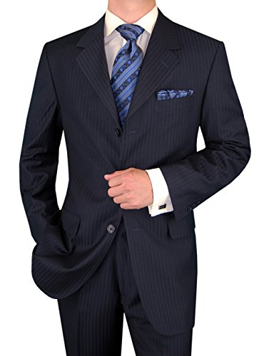 Gino Valentino Men's 2 Piece 3 Button Jacket Flat Front Pants Stripe Navy Suit (50 Long US / 60 Long EU)