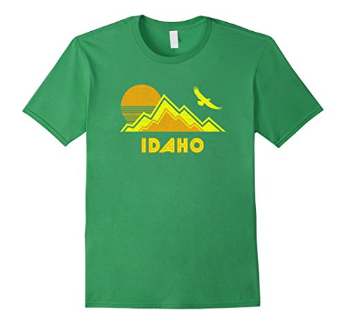 Mens Retro Idaho T Shirt Distressed Hiking Tee Large Grass