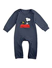 Kids Peanuts Snoopy Baby Bodysuits Little Boys Girls 100% Cotton Long Sleeve Rompers