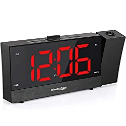 REACHER Projection Alarm Clock Radio Dual Alarm USB Sleep Timer 0-100 Dimmer Snooze Time Option Bedroom