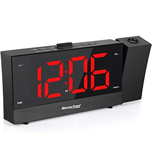 REACHER Projection Alarm Clock Radio with Dual Alarm USB Sleep Timer 0-100 Dimmer and Snooze Time Option for Bedroom