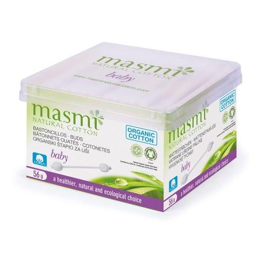 Masmi Bio Baby Wattestäbchen - 56 Stück aus biologischer Baumwolle