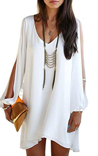 GAGA Women's Sexy V-neck Long-sleeved Dress