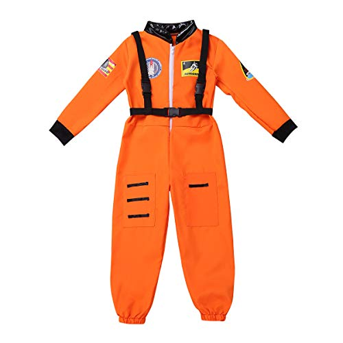 dPois Kids Boys Girls' Astronaut Role Play Costume Full Length Spaceman Suit Jumpsuit with Straps Fancy Dress Up Outfits Orange 6-8 ()