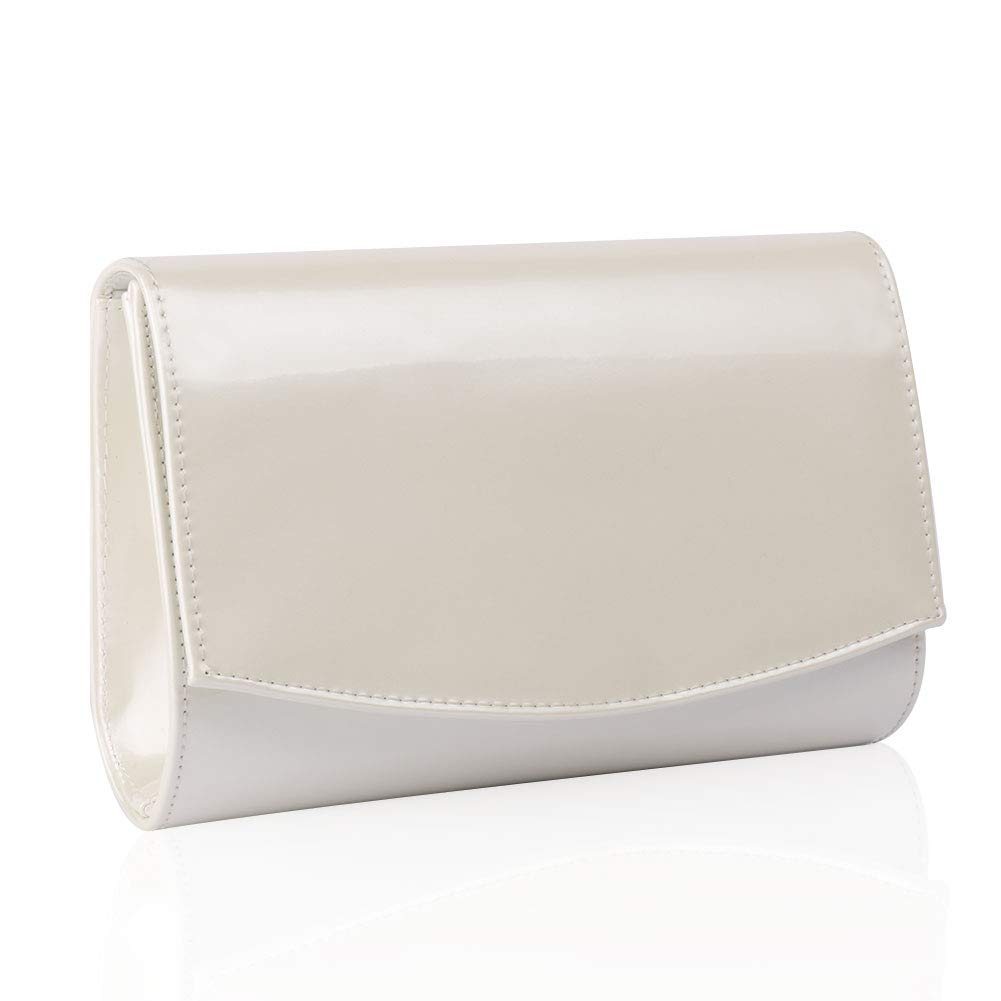 Women Leather Fashion Clutch Purses,WALLYN'S Evening Bag Handbag Solid Color (Natural) by WALLYN'S (Image #1)