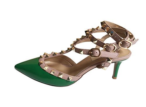Kaitlyn Pan Pointed Toe Studded Slingback Kitten Heel Leather Pumps Green Patent/Nude Trim/Gold Studs many kinds of online 100% authentic sale online BN7xD