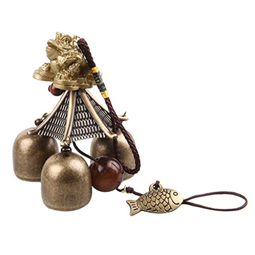 Cheap MagiDeal Chinese Golden Toad Fish Metal Bell Lucky Feng Shui Hanging Wind Chime