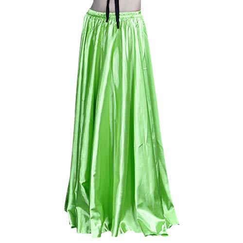 Backgarden 90cm Belly Dance Satin Long Dress Elastic Waistband Design Great Stage Effect (Light Green)