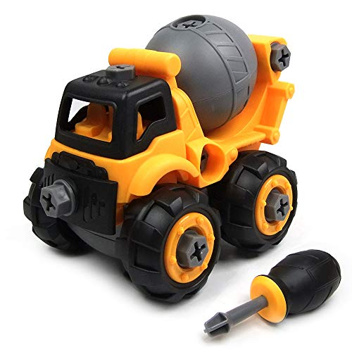 WisToyz Take Apart Toys, Toy Vehicles, Toy Cement Mixer Toddlers Toys, Constructions Vehicles Set with Screwdriver, Ideal Educational Toy for Boys & Girls Aged 3, 4, 5, 6