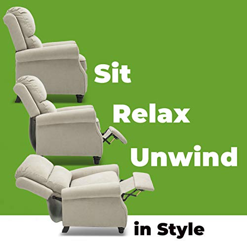 BONZY Manual Roll Arm and Pushback Mechanism Recliner Chair, Buff