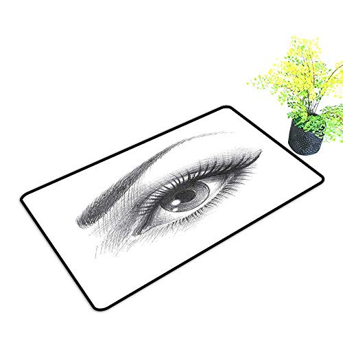 Zmstroy Bedroom Doormat Eye Pencil Drawing Artwork of a Staring Female Eye with Long Lashes and a Curvy Eyebrow W31 xL47 Easy to Clean Grey White