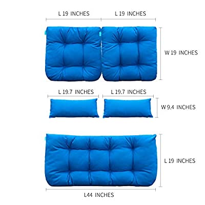 QILLOWAY Outdoor Patio Wicker Seat Cushions Group Loveseat/Two U-Shape/Two Lumbar Pillows for Patio Furniture,Wicker Loveseat,Bench,Porch,Settee of 5