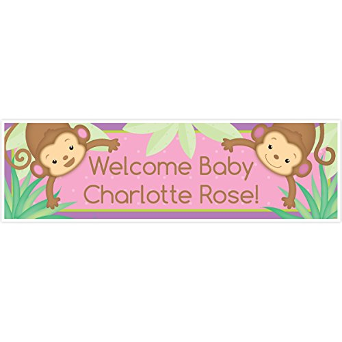 Monkey Girl Baby Shower 5 Ft. Large Personalized Banner